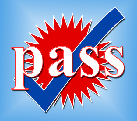 endorsed: Pass Tick Indicating Endorsed Check And Yes Stock Photo