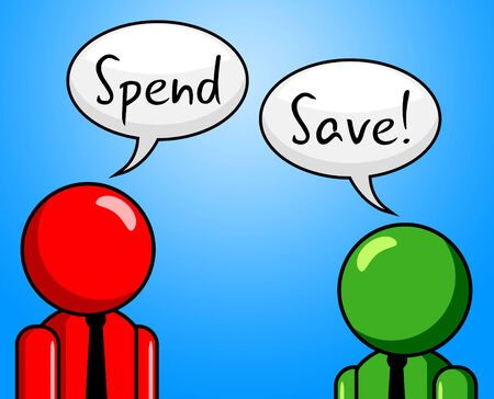 saved: Spend Save Representing Saved Bought And Investment Stock Photo