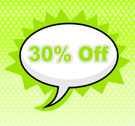 thirty percent off: Thirty Percent Off Meaning Save Placard And Discounts Stock Photo