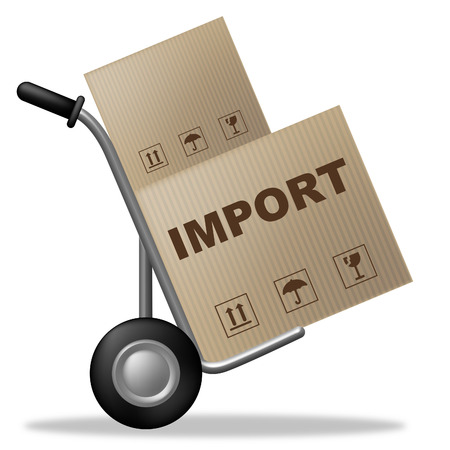 importation: Import Package Indicating Shipping Box And Commodity