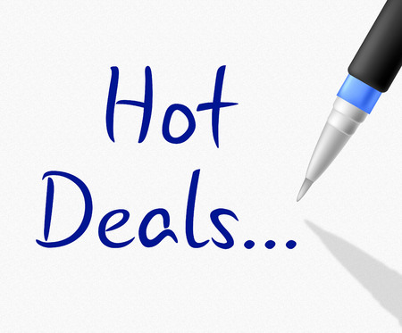 merchandise: Hot Deals Representing Reduction Cheap And Merchandise Stock Photo