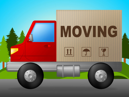 moving truck: Moving Truck Showing Change Of Residence And Buy New Home Stock Photo