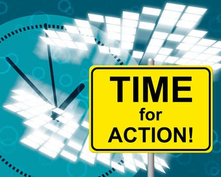 presently: Time For Action Indicating At The Moment And Now Stock Photo