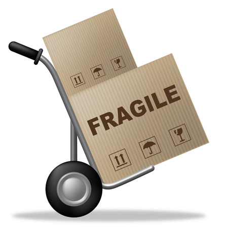 frail: Fragile Box Indicating Frail Delicate And Product Stock Photo