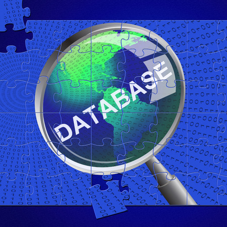 byte: Database Magnifier Showing Magnification Byte And Search