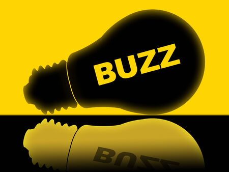 relations publiques: Buzz Ampoule Affichage des relations publiques et de l'attention Banque d'images