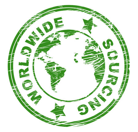 sourcing: Worldwide Sourcing Showing Procurement Procure And Globally Stock Photo