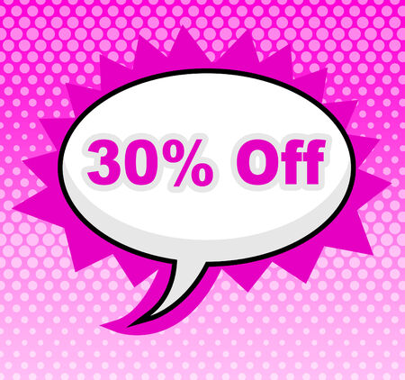 thirty percent off: Thirty Percent Off Showing Retail Display And Promo Stock Photo