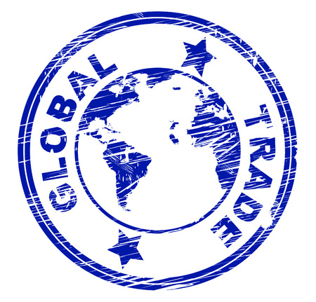 global trade: Global Trade Indicating Globalize Purchase And Corporation