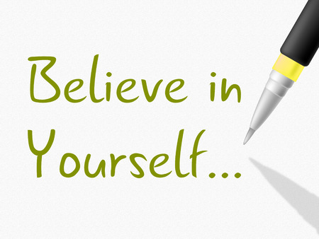 believing: Believe In Yourself Showing Hope Confidence And Confident Stock Photo