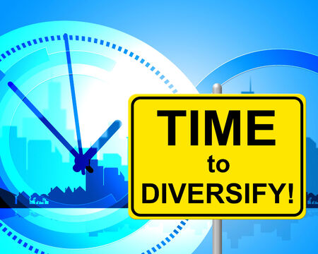 presently: Time To Diversify Showing At The Moment And Now Stock Photo