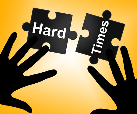 hard times: Hard Times Showing Overcome Obstacles And Problems Stock Photo