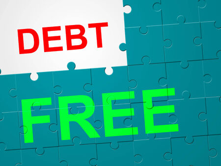 indebtedness: Debt Free Indicating Debit Card And Indebtedness