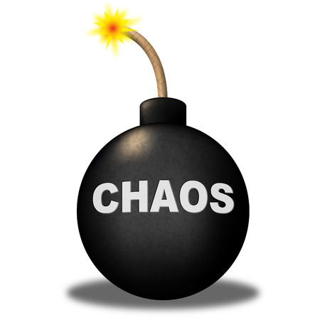 Chaos Warning Showing Danger Chaotic And Beware