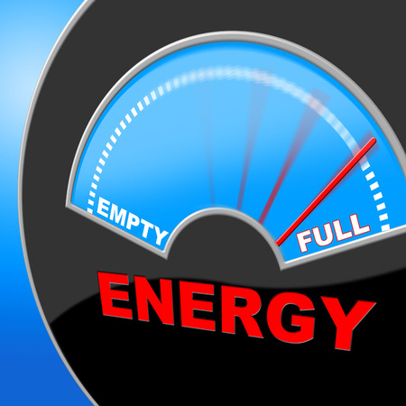 energize: Energy Full Showing Power Source And Gauge Stock Photo