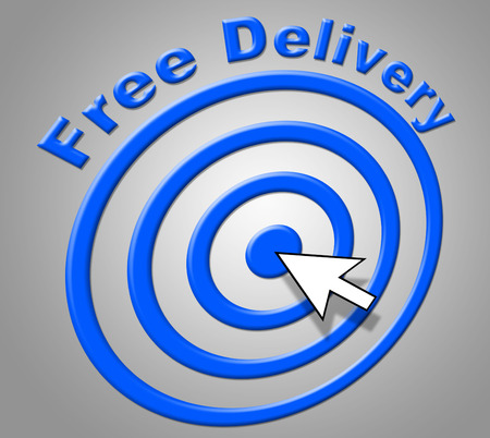 gratis: Free Delivery Indicating With Our Compliments And Gratis Stock Photo