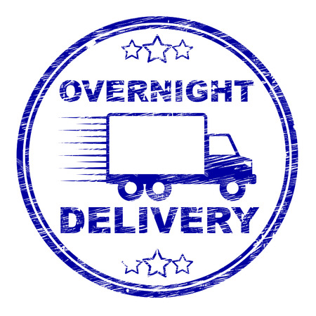 overnight: Overnight Delivery Stamp Representing Post Shipping And Package Stock Photo