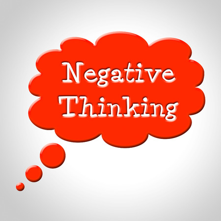 Negative Thinking Bubble Representing Stop No And Plan photo