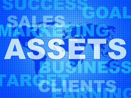 valuables: Assets Words Representing Capital Valuables And Wealth Stock Photo
