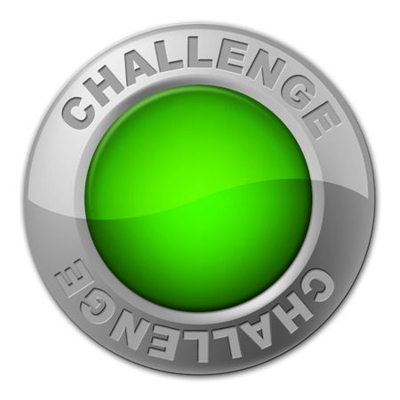 overcome a challenge: Challenge Button Representing Overcome Obstacles And Challenges