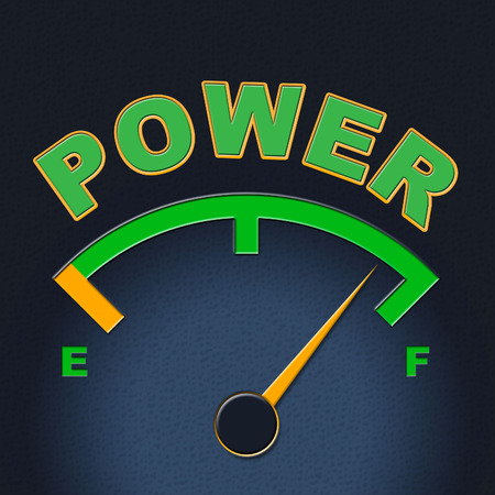 forceful: Power Gauge Representing Indicator Forceful And Mightiness