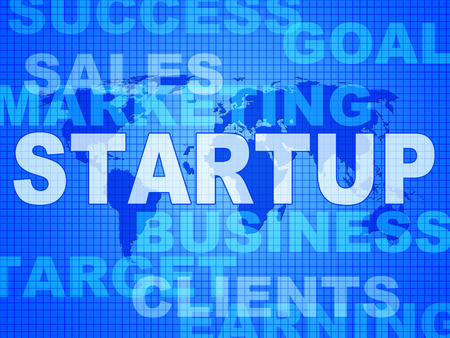 entrepreneurial: Startup Words Representing Funding Enterprise And Launch