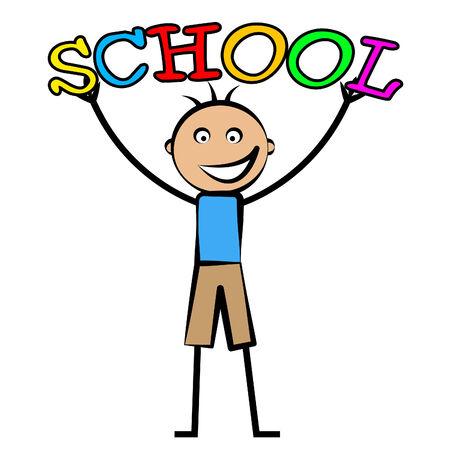 garçon ecole: Boy �cole indiquant scolarit� se d�velopper et apprendre Banque d'images