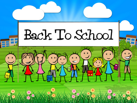Back To School Indicating Tutoring Study And Kids Stock Photo