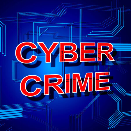 Cyber Crime Sign Representing Unauthorized Hacked And Crack Stock Photo