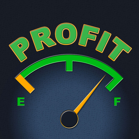 lucrative: Profit Gauge Meaning Display Earnings And Earn Stock Photo