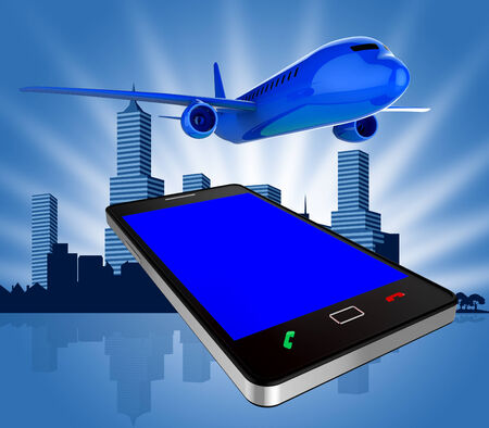 booked: Book Flights Showing Airplane Fly And Mobile