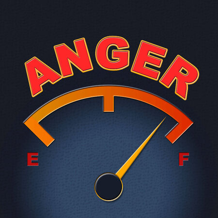 outraged: Anger Gauge Representing Dial Outraged And Scale Stock Photo
