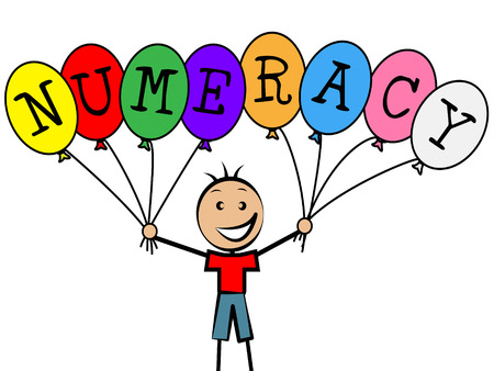 numeracy: Numeracy Balloons Meaning Child Youngsters And Boy Stock Photo
