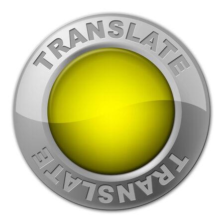 multilingual: Translate Button Indicating Multi-Lingual Translator And Language