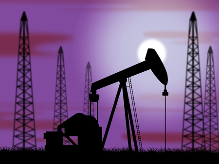 nonrenewable: Oil Wells Representing Power Source And Powered Stock Photo