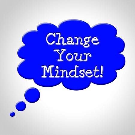reforming: Cambiar su mentalidad Indicando pensar en ello y Reforma Considere Foto de archivo