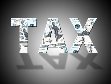 levy: Tax Letters Indicating American Dollars And Levy