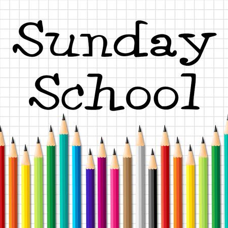 Crayons l'école du dimanche Représentant Religion croyant et priant Banque d'images