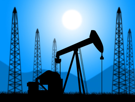 petrol powered: Oil Wells Showing Exploration Extracting And Petroleum Stock Photo