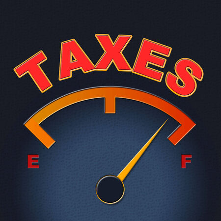 taxpayer: Taxes Gauge Showing Taxpayer Taxation And Scale