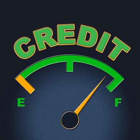 bankcard: Credit Gauge Indicating Display Owed And Indicator Stock Photo