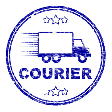 courier: Courier Stamp Indicating Delivery Vehicle And Post Stock Photo