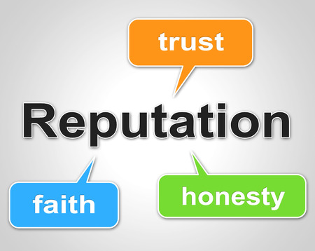 trustworthiness: Reputation Words Representing Believe In And Trust Stock Photo
