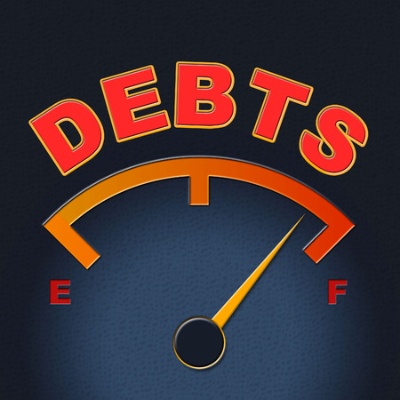 indebt: Debts Gauge Showing Financial Obligation And Indebt Stock Photo