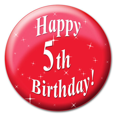 congratulating: Happy Fifth Birthday Representing Five Happiness And Congratulating Stock Photo