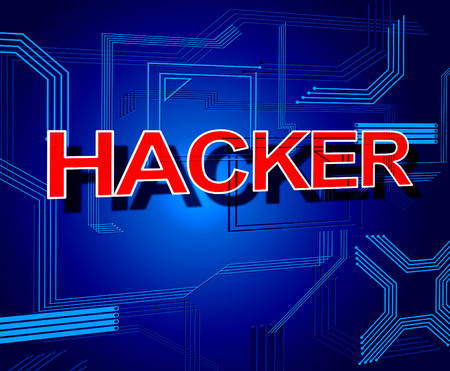 Hacker Sign Indicating Spyware Crack And Unauthorized photo