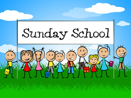 Sunday School Banner Showing Devotee Church And Kids Banque d'images