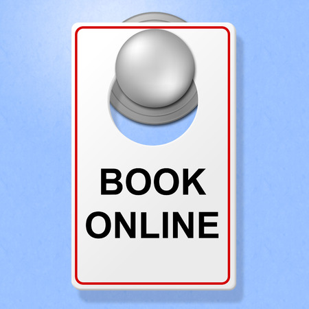 booked: Book Online Sign Showing Place To Stay And Hotel