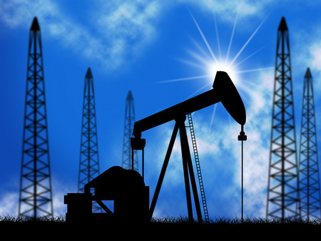 oilwell: Oil Wells Representing Power Source And Electric