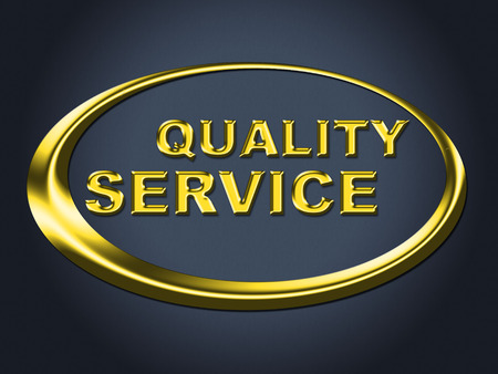 certify: Quality Service Sign Indicating Assistance Certify And Certified